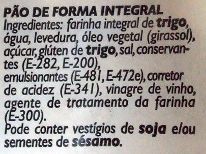Pão de forma integral - Ingredientes - pt