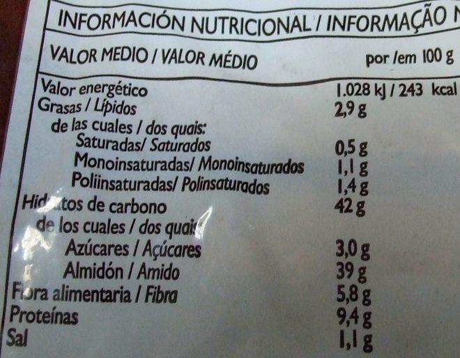 Pão de Forma Integral - Informations nutritionnelles