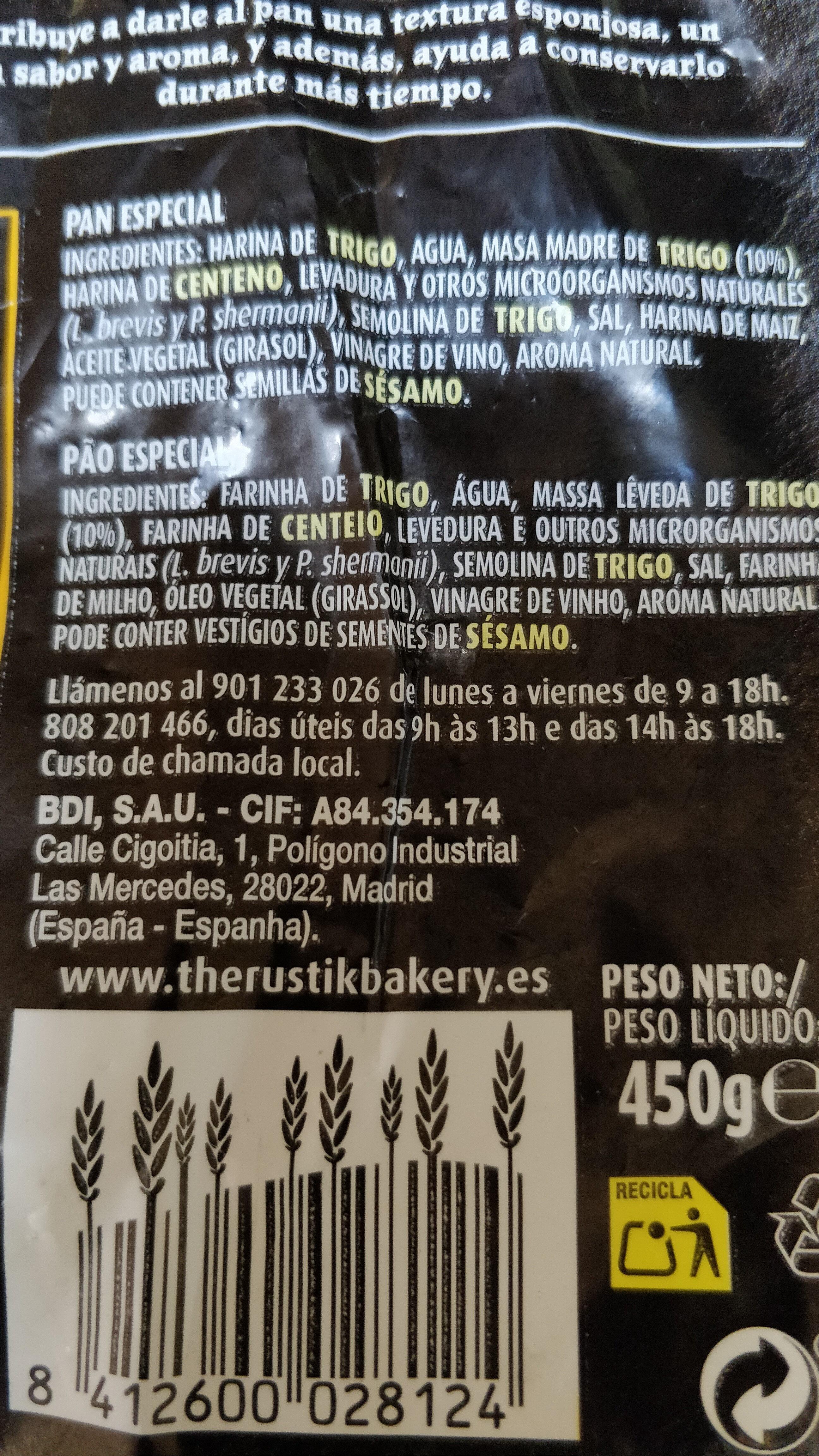 Pan de masa madre - Ingredientes