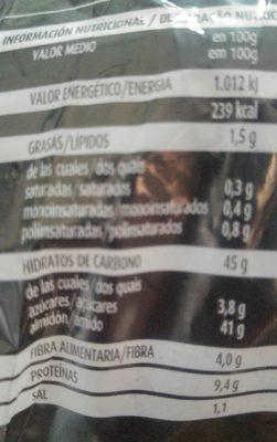 Pan de masa madre - Información nutricional