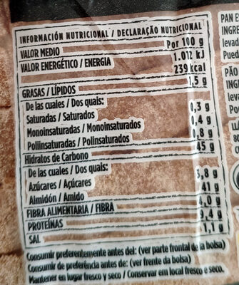 Hogaza de pan con masa madre 10% - Voedingswaarden - es