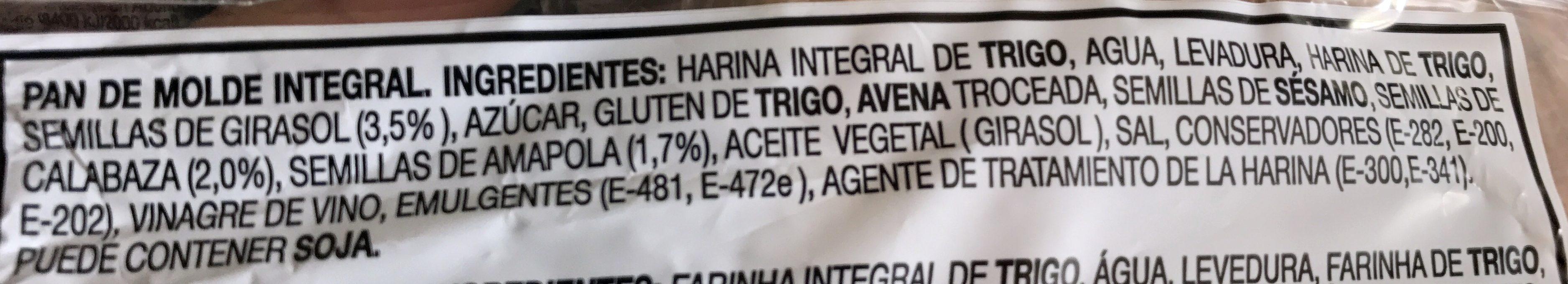Pan de Pipas de Girasol y Calabaza Oroweat - Ingredientes - es
