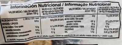 Pan de Pipas de Girasol y Calabaza Oroweat - Información nutricional
