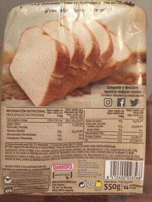 Pan de molde - 营养成分