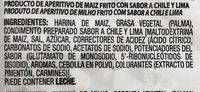 Takis Rollitos De Maíz Sabor Chile Y Lima - Ingrédients - fr