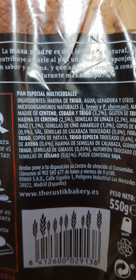 The rustik bakery masa madre cereales y semillas - Ingredients - es