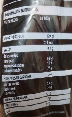 The rustik bakery masa madre cereales y semillas - Nutrition facts