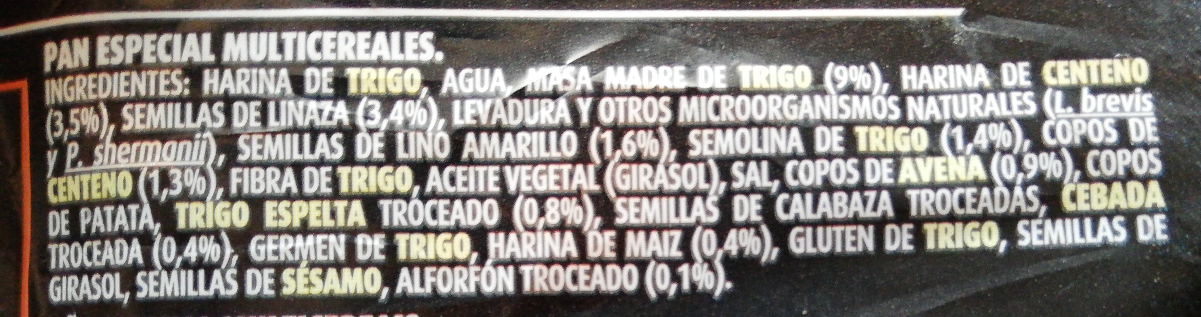 Pan de molde con masa madre 11% - Ingredients