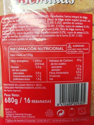 Pan cereales y semillas - Ingredientes - es