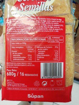 Pan cereales y semillas - Nutrition facts