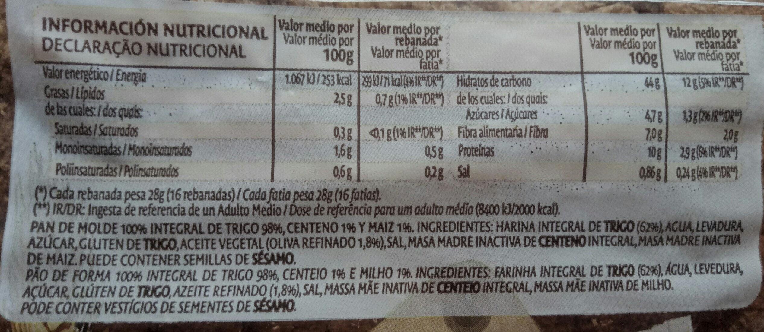 Bimbo integral Natural 100% - Ingredientes - es