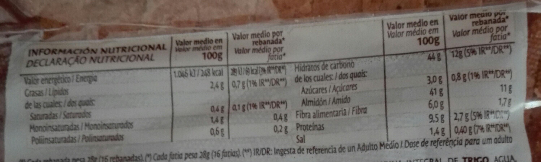 Bimbo integral Natural 100% - Información nutricional - es