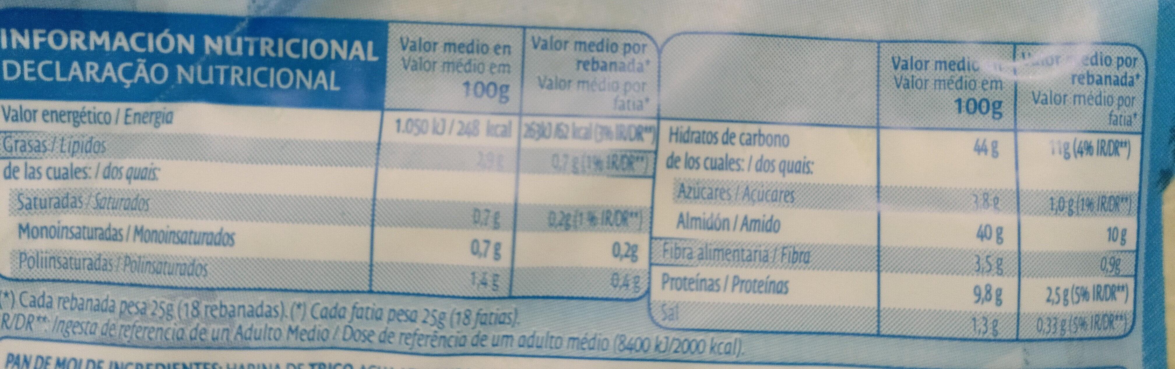 Pa De Motlle Amb Escorça Blanca De Bimbo - Información nutricional - es