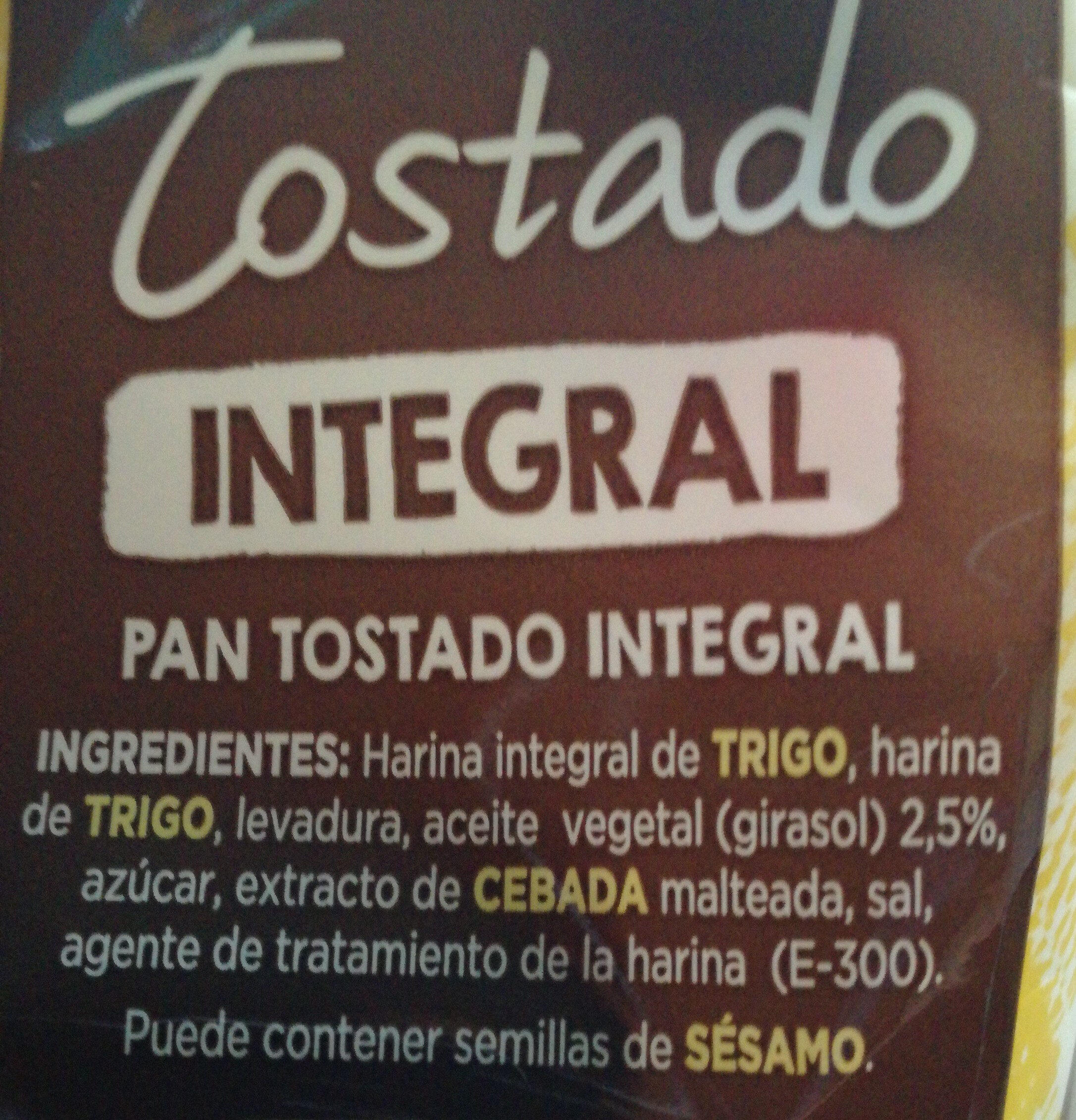 Tostado integral - Ingredientes - es