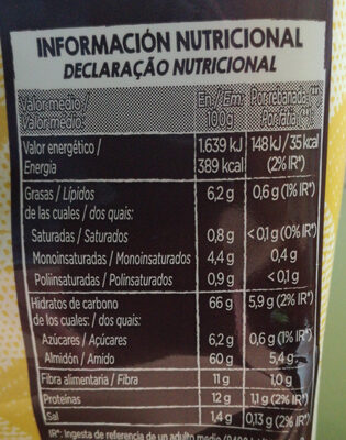 TOSTADO INTEGRAL - Informació nutricional