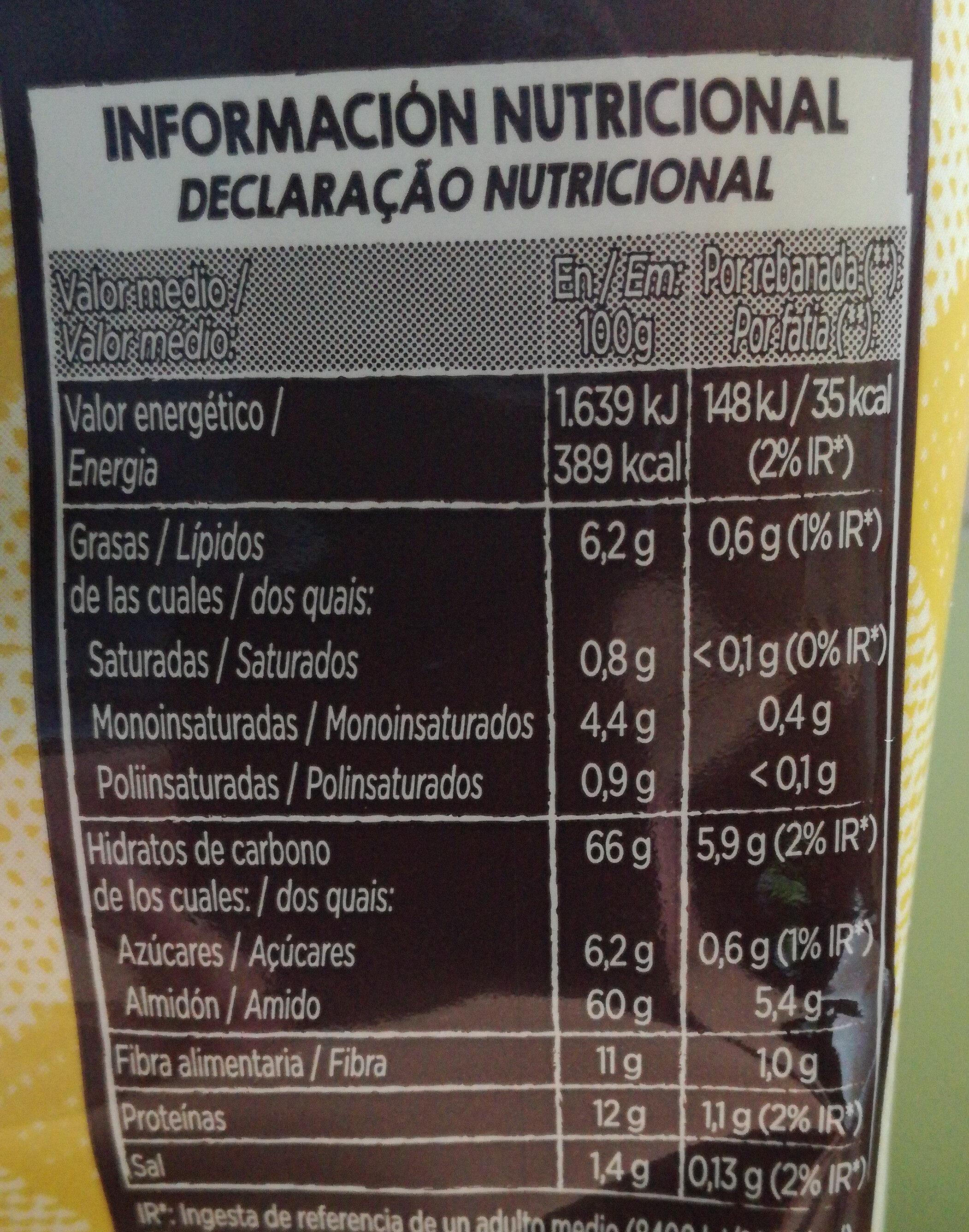 Tostado integral - Informação nutricional - es