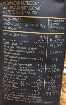 Pan tostado extracrujiente bajo de sal y sin azúcares añadidos - Información nutricional - es