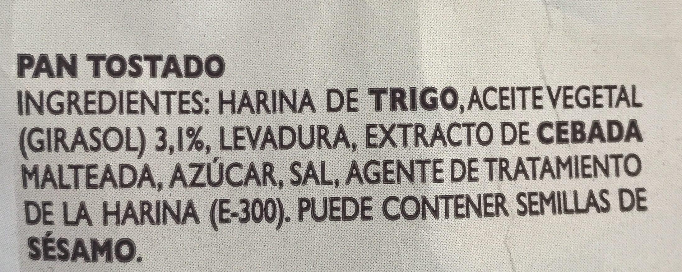 Pan Tostado Estilo Tradicional - Ingredientes