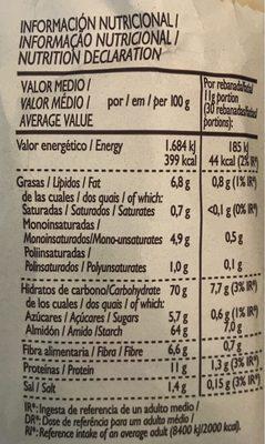 Pan Tostado Estilo Tradicional - Información nutricional