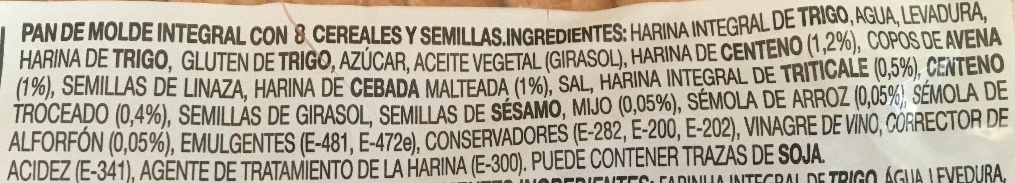 Silueta pan de molde integral cereales completo - Ingredientes - es