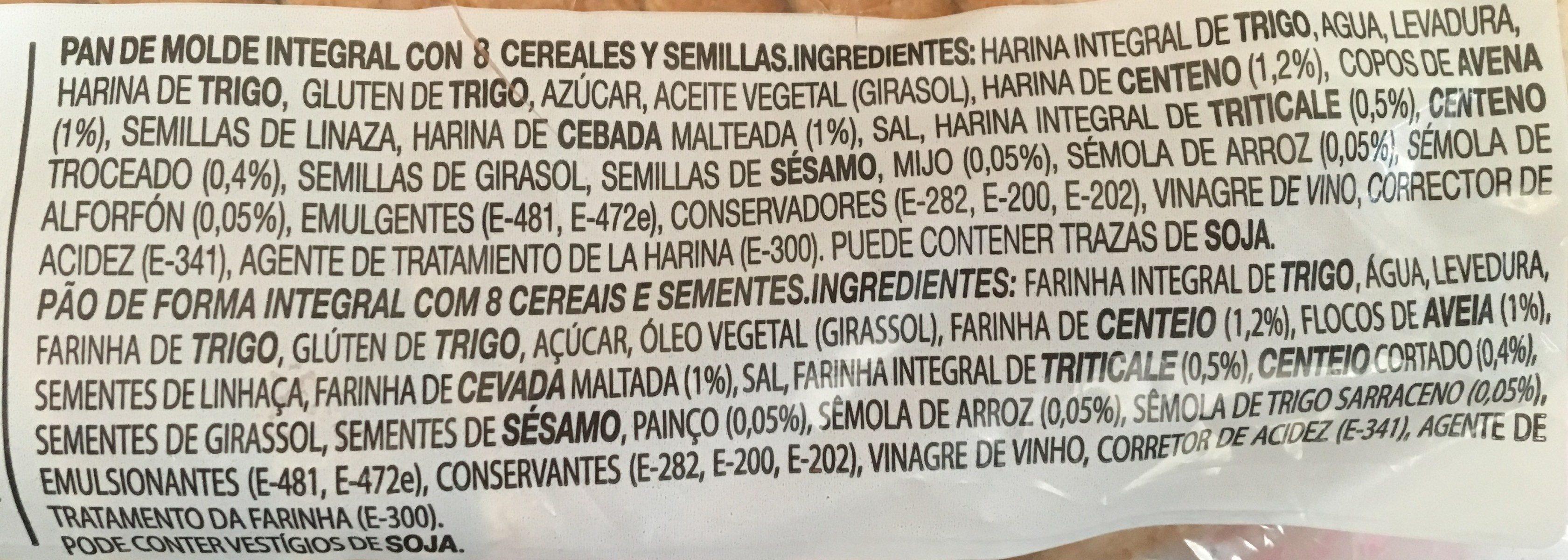 Silueta pan de molde integral cereales completo - Ingrédients - fr