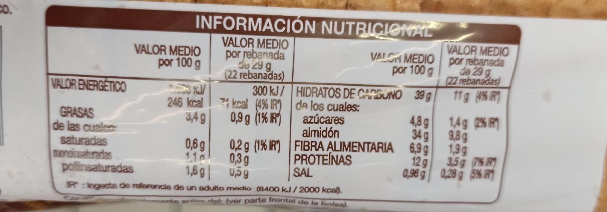 Silueta pan de molde integral cereales completo - Nutrition facts - es