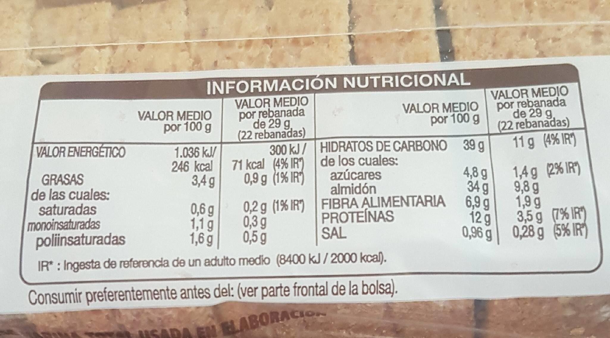 Silueta pan de molde integral cereales completo - Informations nutritionnelles - es