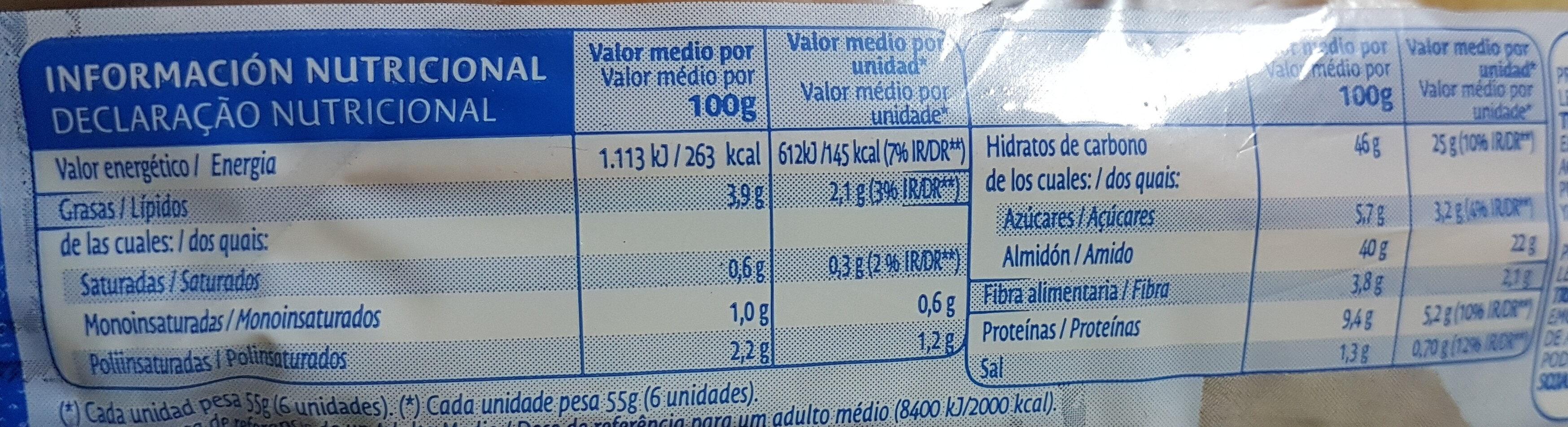 Pan Para Hot Dogs De Bimbo - Información nutricional - es