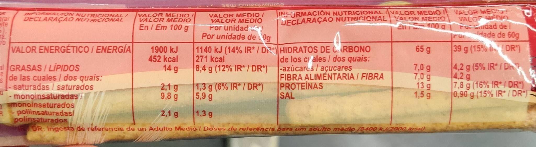Silueta palitos de pan integrales - Información nutricional - fr
