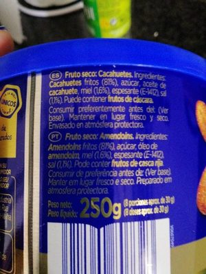 Cacahuetes fritos con miel Sin Gluten lata 250 g - Ingredientes