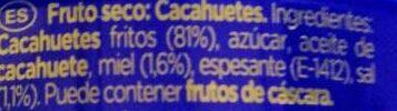 Cacahuetes fritos con miel Sin Gluten lata 250 g - Ingredientes - es