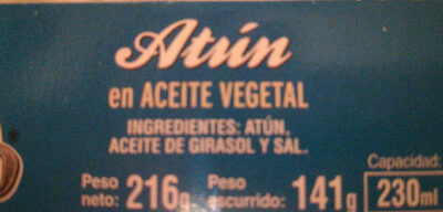 Atún en aceite vegetal - Ingredientes - es