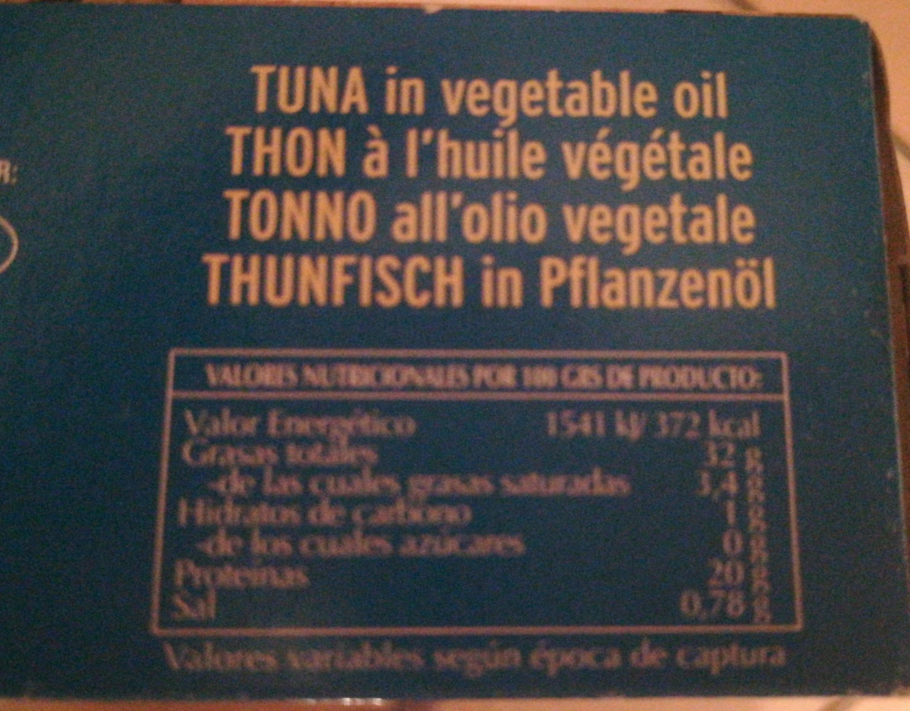 Atún en aceite vegetal - Informació nutricional - es