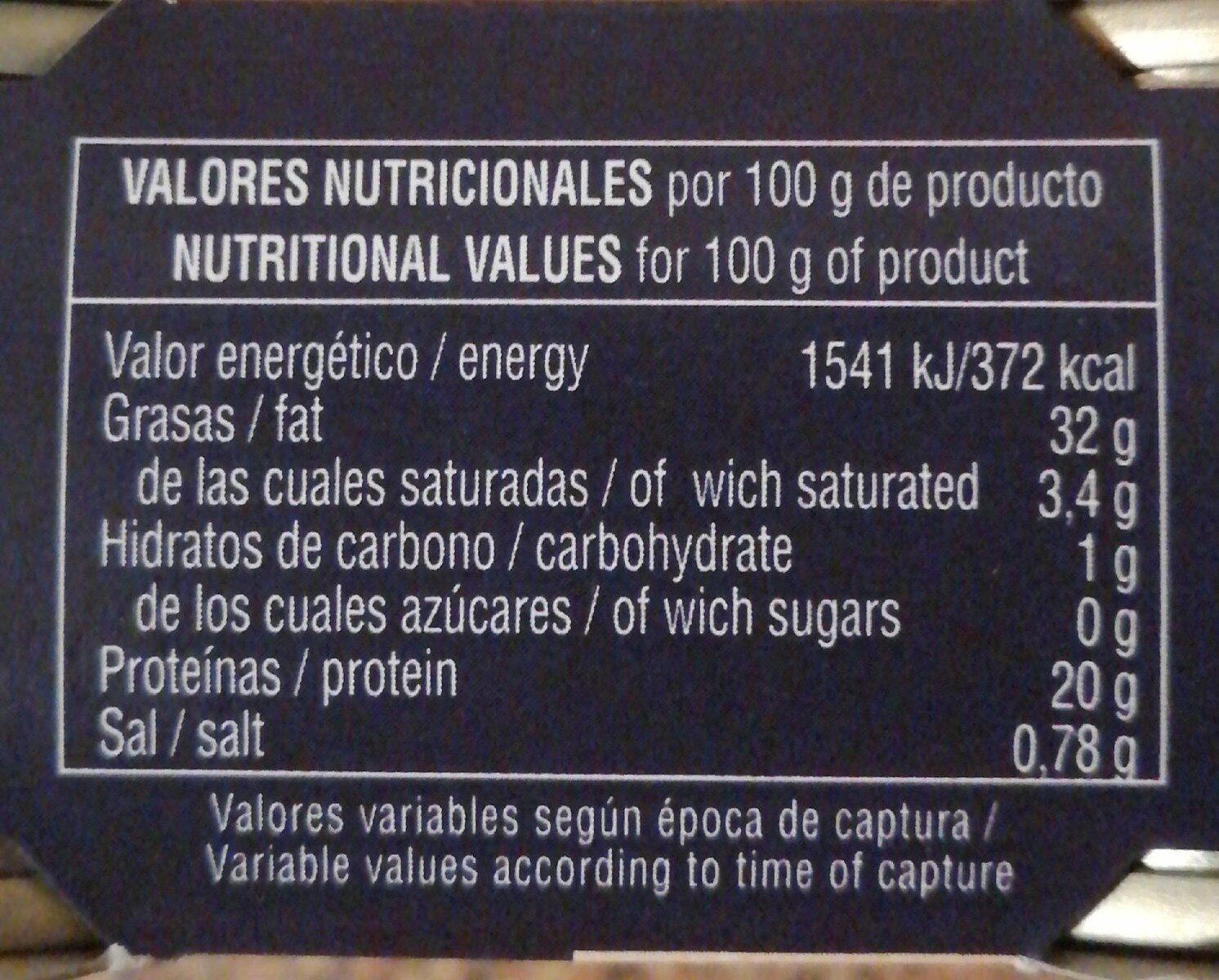 Atún en aceite de girasol - Nutrition facts
