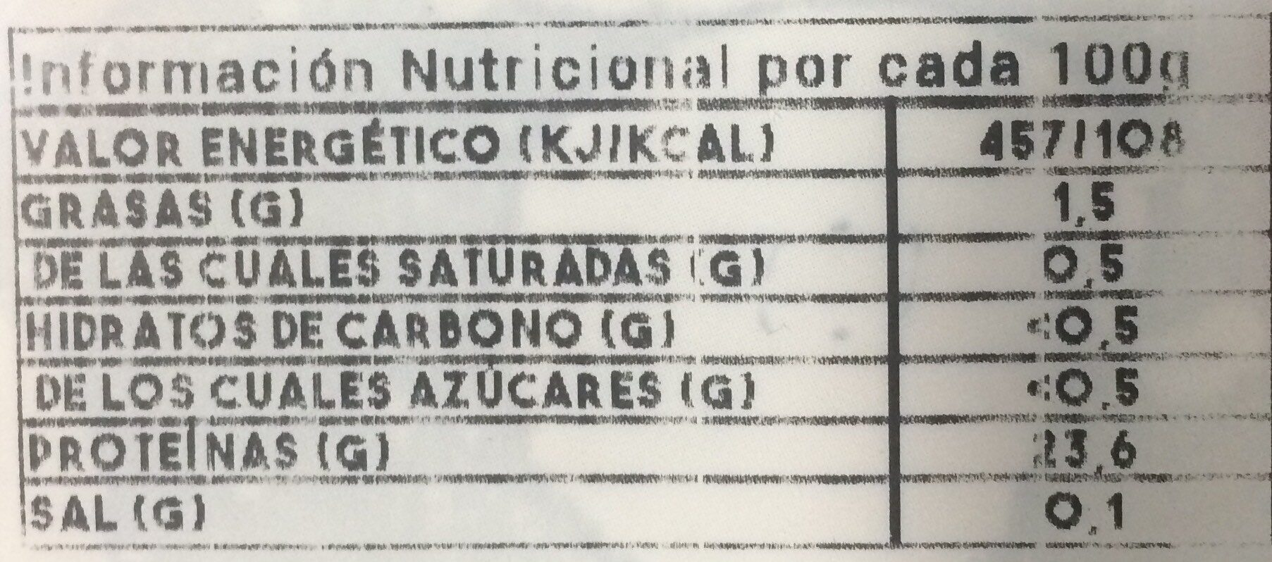 Pollo línea sabor - Información nutricional