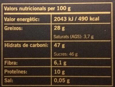 Torró Crema Torrada - Información nutricional