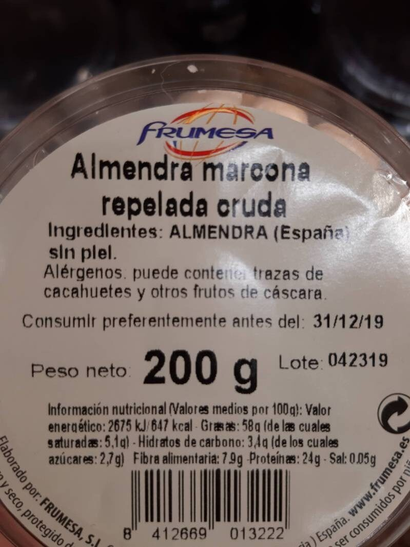 Almendra marcona repelada cruda - Ingredientes