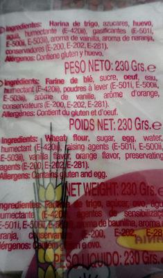 bizcochos Soletilla sin lactosa - Ingredientes