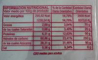 bizcochos Soletilla sin lactosa - Información nutricional