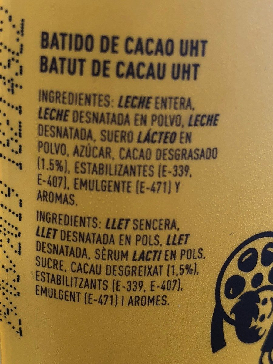 Cacaolat Original - Ingrédients