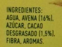 Cacaolat Veggie Avena & Cacao - Ingredientes