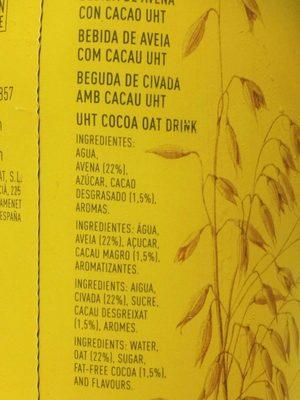 Cacaolat Veggie - Ingrédients