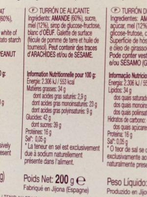 Turron de alicante calidad suprema - Nutrition facts