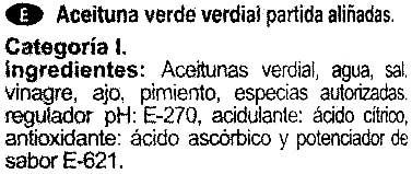 """Aceitunas verdes partidas aliñadas """"Aliada"""" Variedad Verdial - Ingredients"""