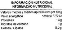 """Aceitunas verdes partidas aliñadas """"Aliada"""" Variedad Verdial - Nutrition facts"""