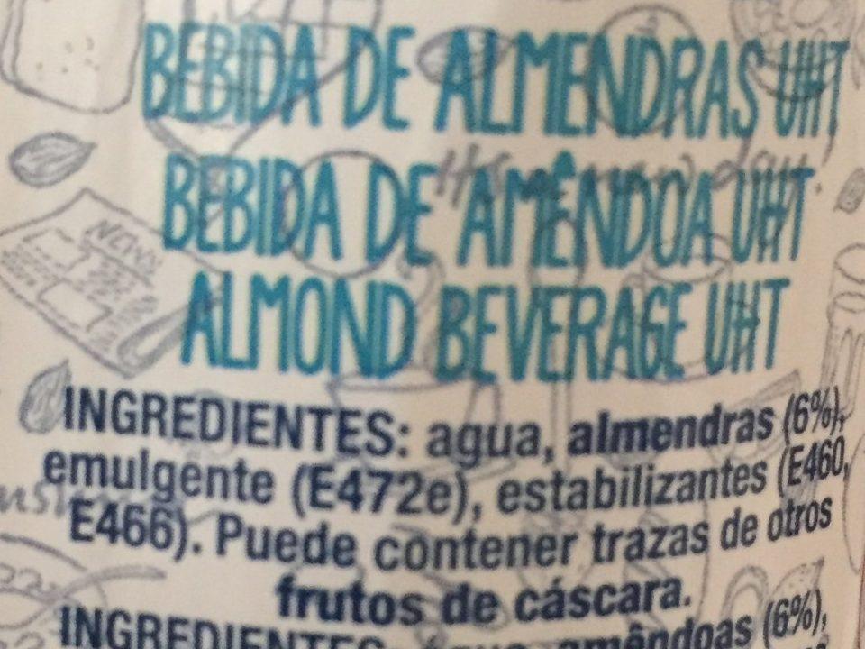 Bebida de almendras 0% azúcares - Ingredientes - es