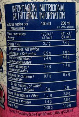 Bebida de almendras 0% azúcares - Información nutricional - es