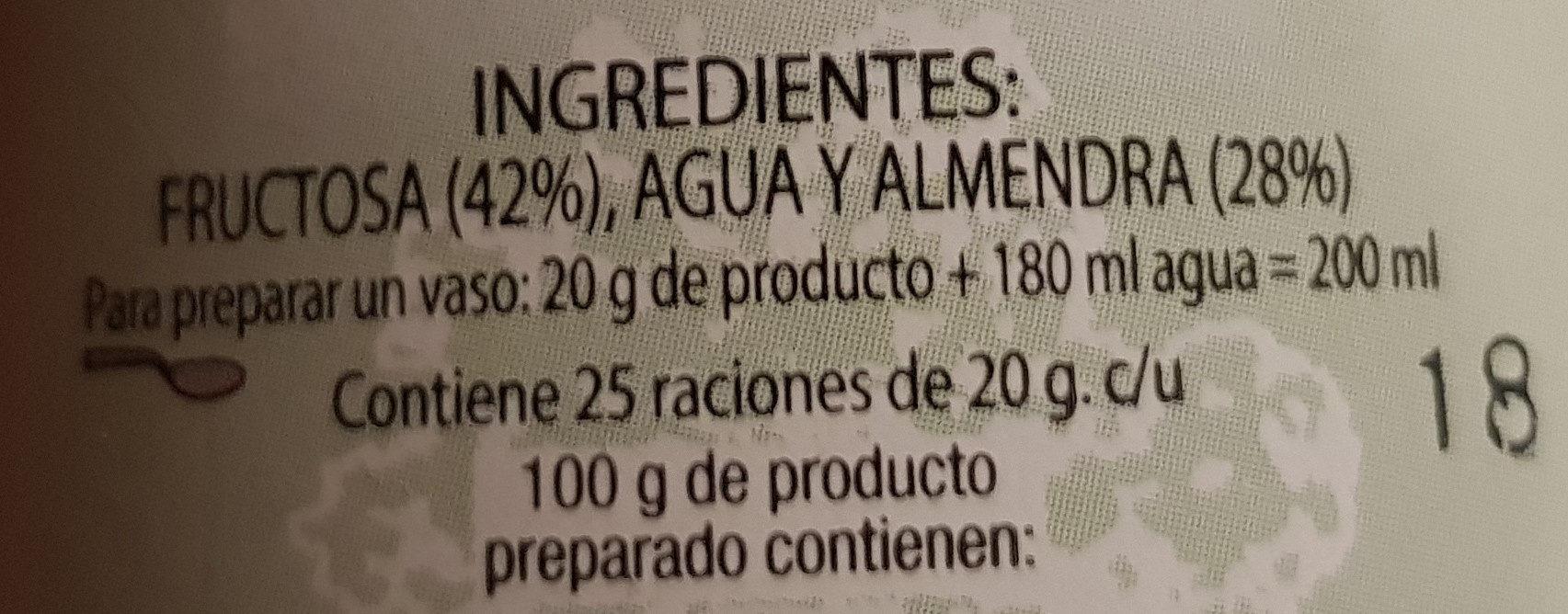 Crema de almendras con fructosa - Ingredientes