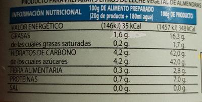 Crema de almendras con fructosa - Información nutricional