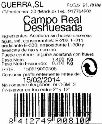 Aceitunas manzanilla de Campo Real sin hueso envase 700 g - Ingredientes - es